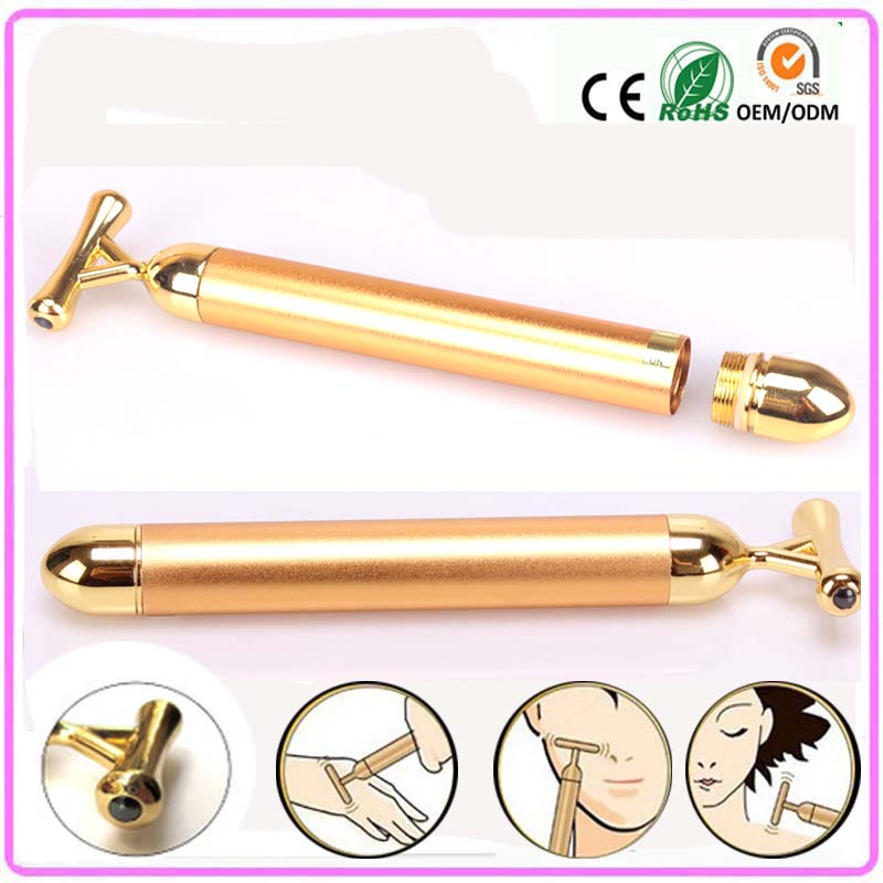 Face Lifting Slimming Shaping Skin Tightening Y Shape 24k Vibration Gold Energy Beauty Bar Roller Stick Facial Massager Machine<br><br>Aliexpress