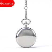 Shining Silver Simple Mechanical Women Pocket Watch With Key Chain Necklace Roman Numbers Hand Winding Vintage Fashion Watch