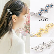 new fashion exquisite hair clips for girl flower shape alloy shiny rhinestone golden blue nice hair clip headdress YT-80(China)