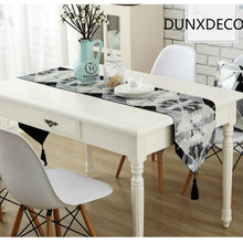 DUNXDECO 1PC  Vintage Retro Artistic White Black Check Geometric Painting Jacquard Table Runner Home Party Table Decorative Cove