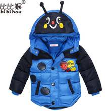 Baby Boys Jacket 2017 Winter Jacket For Boys Bees Hooded Down Jacket Kids Warm Outerwear Children Clothes Infant Boys Coat 2-5yr(China)