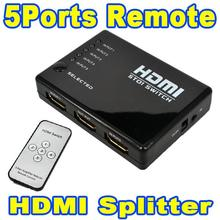 NEW Mini 5 Ports 1080P Video HDMI Switch Switcher HDMI Splitter with IR Remote splitter box for HDTV DVD for PS3