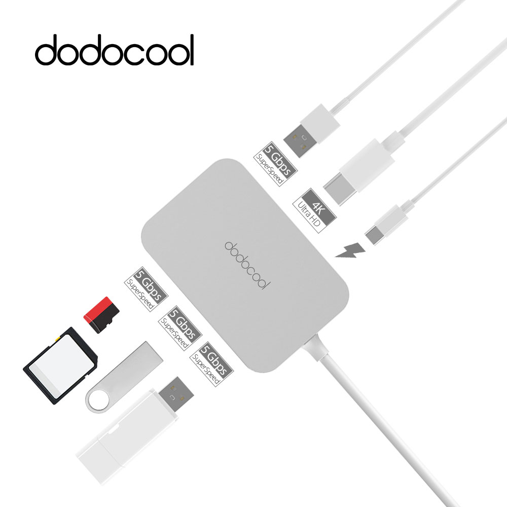 dodocool Aluminum 7-in-1 Multifunction USB-C Hub with Type-C Power Delivery 4K Video HD Output SD/TF Card Reader USB 3.0 Ports(China (Mainland))