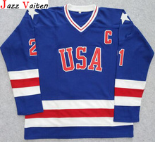 Jazz Vaiten Miracle On Ice Team USA Mike Eruzione #21 Hockey Jersey White All stitched Free Shipping(China)
