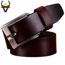 2017 Casual genuine leather belts for men Top quality second layer cowskin belt man Luxury Pin buckle strap for cowboy jeans 129(China)