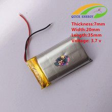 702035 polymer battery 3.7v 400mAh from china manufacture(China)