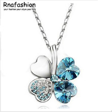 Fashion Austria Crystal Sweet style half rhinestone crystal clover Pendant Necklace 090(China)