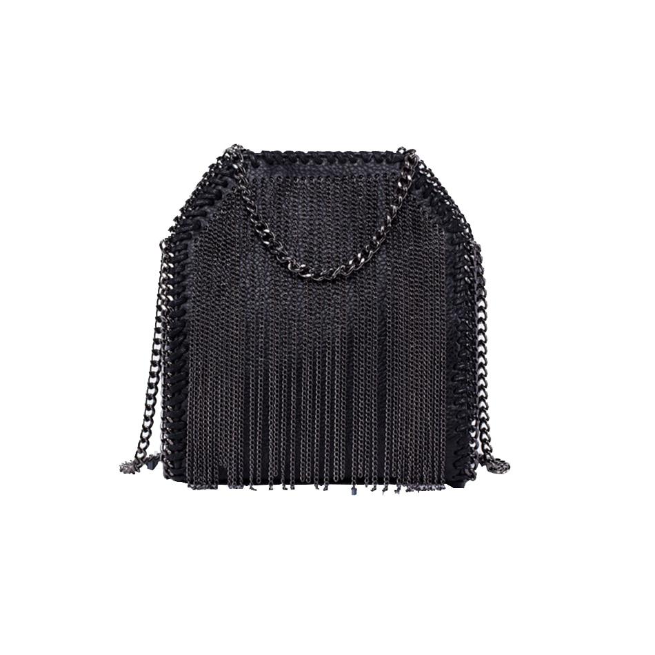 KEYTREND New Women Shoulder Crossbody Bag Fashion Tassel Small Handbag Female Mini Clutch Bag Chains PU Leather For Girls KSB374<br>