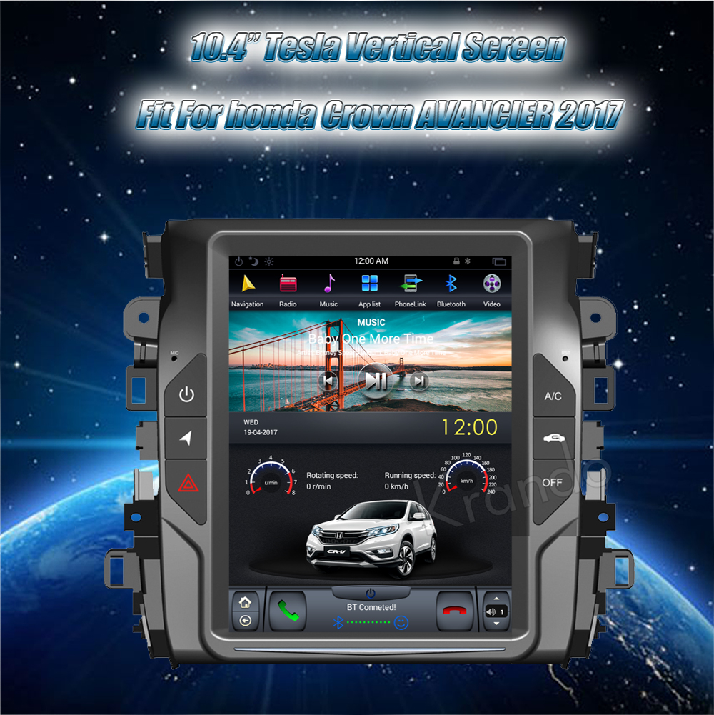 Krando Vertical screen android car radio multimedia for honda Crown AVANCIER 2017 screen navigation with gps system