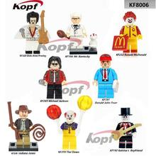 Single Sale Pennywise The Clawn Donald JohnTrump Elvis Aron Presley Ronald McDonald Building Blocks Children Gift Toys KF8006