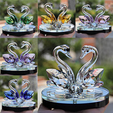 1 pcs Swan Decor Crystal Swan Wedding Decor Paperweight Figurine Gift Crafts Home Decor(China)
