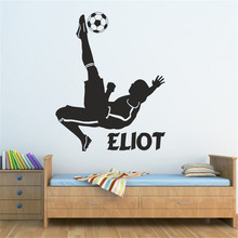 T07024 Boys Footballer Sticker Personalised Name Vinyl Wall Decals Football Wall Stickers For Kid's Room Stickers For Home Decor(China)