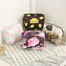 Women Travel Cosmetic Bag Animal Flamingo Makeup Bag Zipper Make Up Handbag Organizer Storage Pouch Toiletry Wash Beauty Box(China)