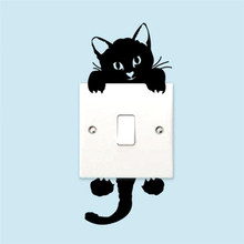 5pcs Switch Stickers Kitty Cat  Cartoon Wall Decor Decals Children Baby Nursery Room light Sticker Paper Decor for Door Lock