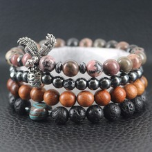 Hawk Spreads Big Wings Red Fossil-gem Stones Hematite Beaded Bracelets Women's Fashion 4 Layers Lava Wrap Bracelets & Bangles(China)