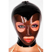 Buy New Arrival Bodystocking Bodysuit Latex Mask Hood Fetish black brown spliced Women Sexy Hoods Plus Size Hot Sale
