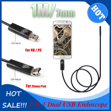 New 2In1 Snake Endoscope 1M/3.3FT 7mm 6 LEDs Waterproof Borescope Micro USB Inspection Video Camera for Android & PC