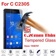 Anti-Scratch Cheap New 2.5D 0.26mm 9H Hardness Phone Cell Mobile Front Tempered Glass For Sony Soni Xperia C C2305 2305 C2304