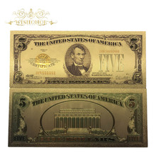 10pcs/lot 1928 Year America Colorful Gold Banknote 5 Dollar Banknote in 24k 999.9 Gold Plated Fake Money Metal Crafts For Gifts(China)