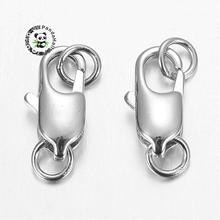20pcs Platinum Plated Brass Lobster Claw Clasps for Jewelry Making, with Jump Rings, Cadmium Free & Lead Free, 6x18mm(China)