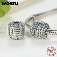 Hot Sale Real 925 Sterling Silver Glamorous Pave Barrel Clip Charm Beads Fit Original WST Bracelet Authentic Jewelry FLC012(China)