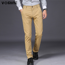 VOMINT 2017 New Mens Casual Pants Elasticity Trousers Regular Straight Smart Business Pant Black Blue Khaki Big Size 42 44 46(China)