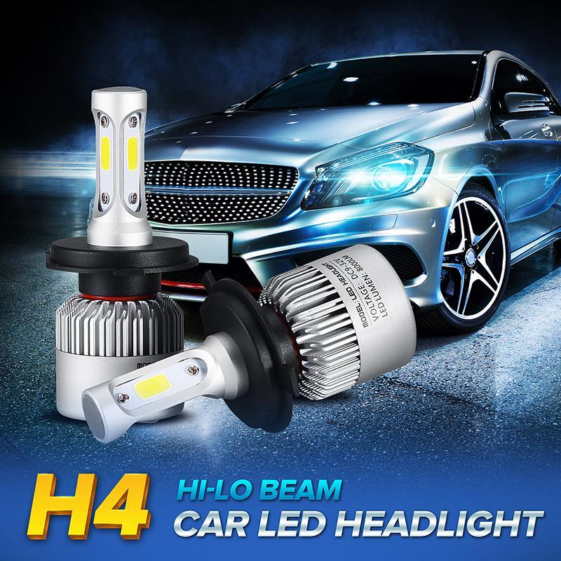 2pcs/lot H4 COB LED Auto Car Headlight Front Head Light Lamp Super Bright Hi-Lo Beam 8000lm Pure White 6500K DC 9-32V<br><br>Aliexpress