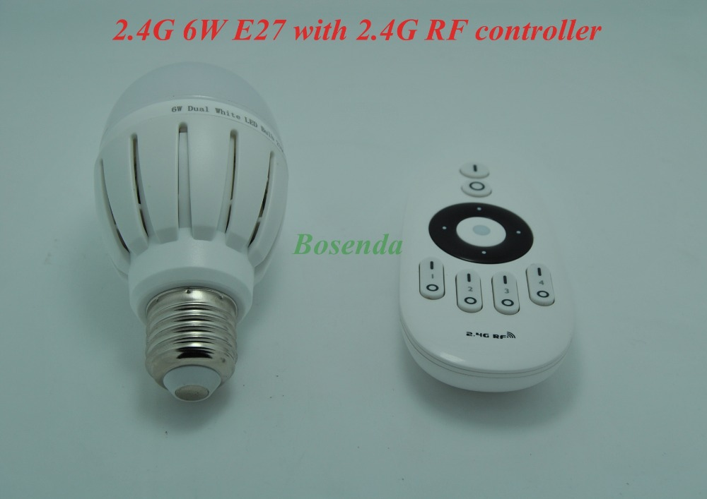 Mi.light 2.4G RF Wireless Adjustable AC 85-265V 6w LED Bulb E27 with 2.4G RF Output 4-channel Remote 7.5W Controller<br>