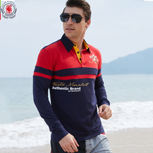 Fredd Marshall Europe Size Men's Long Sleeve Polo Shirt Autumn Full Sleeve Warm Shirt Casual Patchwork Printing Tops Blue 057
