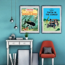The Adventures of Tintin Canvas Painting Wall Pictures , Tintin Poster Wall Art Canvas Prints Kids Room Cartoon Decoration(China)