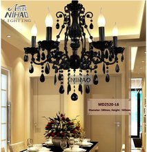 Small Vintage Black 6 Arms Crystal Chandelier Light Fixture Princess American Wrought Iron Lustre Suspension Hanging Light(China)