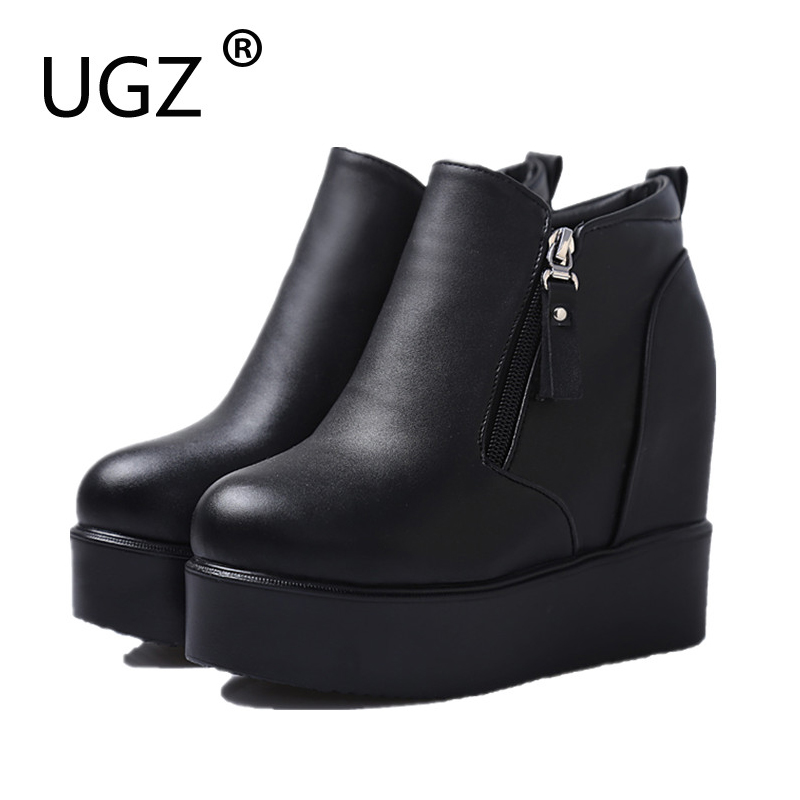 UGZ 2017 Women Winter Thick Sole Ankle Boots with Platform Super High Heel 10cm Women Boots Rubble Sole Comfortable Women Boots<br>