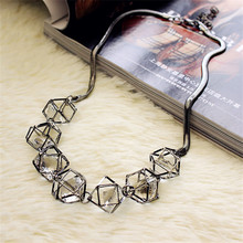 Geometric crystal statement necklace women collares 2017 new trendy jewelry wholesale gift