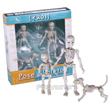 Cute Fashion Design Mr. Bones Pose Skeleton Model with Dog Table Desk Book Mini PVC Figure kids Toys Collectible Gift(China)