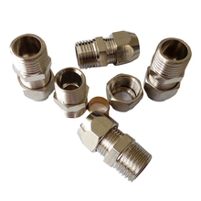"Pack of 5 1/8"" Male BSP *6mm OD Pneumatic Air Nickel Plated Brass Compression Fitting Male Connector BNPCF-MC-T6-1/8BSP(China)"