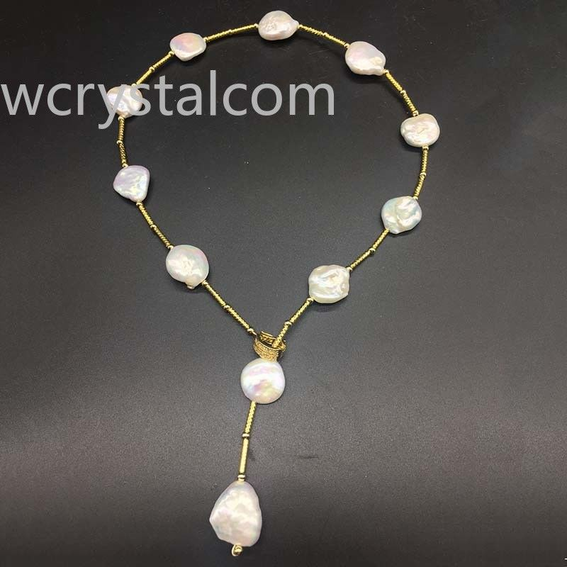 LJHMY Outstanding Luster Coin PEARL 24K Yellow Gold plated Pearl Adjustable NecklaceFor Women Jewelry
