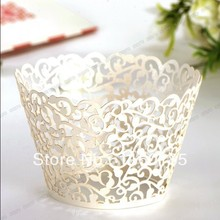EMS shipping 300pcs Off-white little Vine Laser cut Lace Cupcake wrapper Cupcake Liner Cake cup Candy box for wedding,birthday