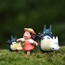 3pcs/lot Miyazaki Hayao My Neighbor Totoro Toys DIY Blue Totoro Mei Resin Action Figure Classic Model Toy for Kids Toys Gift