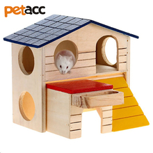 UARTER 2 Storey Platform Playhouse Nest Rat House Wooden Hamster Ladder Pet Small Animal Rabbit Mouse Hideout Luxury Home(China)