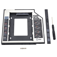 "Plastic & Aluminum SATA to SATA 2nd HDD Caddy 9.5mm 2.5"" SSD Case HDD Enclosure With LED for Laptop CD DVD-ROM ODD Optibay"