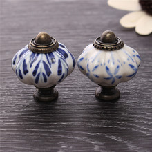 MTGATHER 34mm Blue Leaf Hand Painted Ceramic Pumpkin Bedroom Cupboard Cabinet Knobs Door Drawer Furniture Handle Pulls