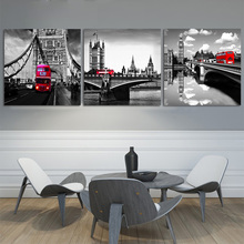 Home Decor Art Pictures Canvas Prints Modern Paintings For The Wall Red Bus On London Tower Bridge Print Black Artwork No Frame