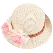 2016 New Summer Kids Floral Straw Hats Fedora Hat Children Visor Beach Sun Baby Girls Sunhat Wide Brim Floppy Panama For Girl W5
