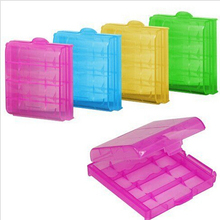 Battery Storage Boxes Hard Plastic Case Holder Storage Box For AA AAA Battery 6.5 x 6.0 x 1.7cm 5 Colors(China)