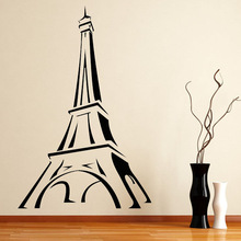 Free shipping Paris Wall Decal Cartoon Eiffel Tower Wall Decor Sticker Living Room Hollow Out DIY Home Decoration(China)
