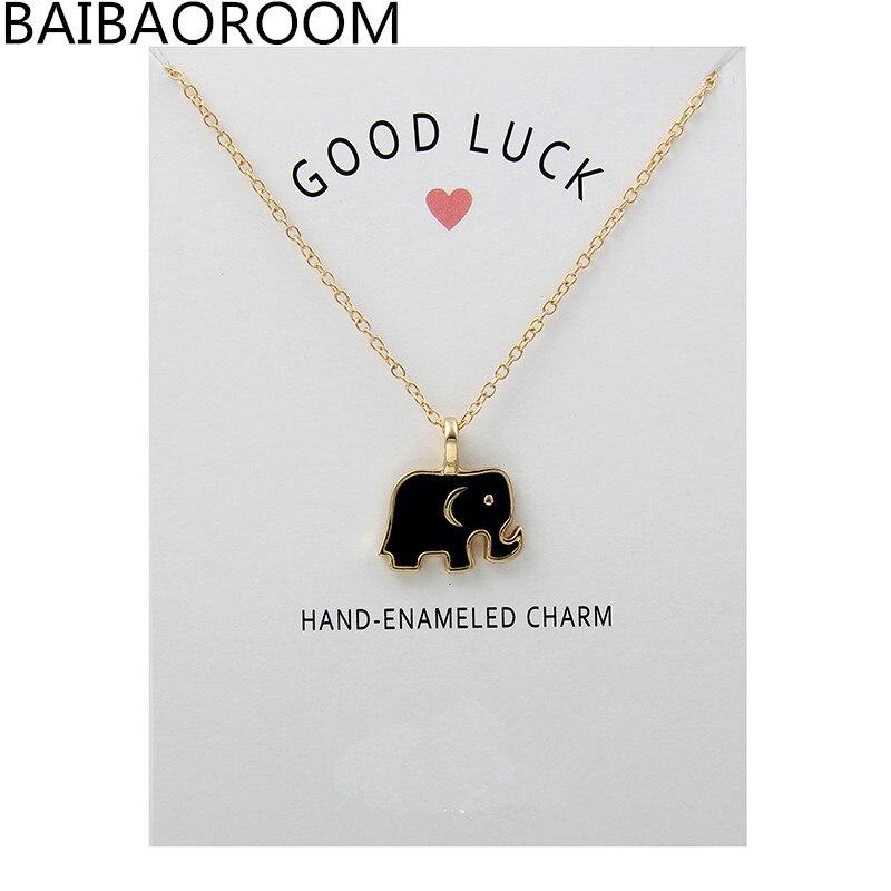 Fashion Jewelry Glaze Good Luck Elephant Necklace For Women