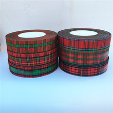 50 yards 25mm Red Lattice Printing Grosgrain Ribbon Bows Christmas Party gift Decor Craft(China)