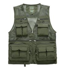 Cameraman Vest Summer Men Reporter Vest Multi-pockets Sleeveless Khaki Photographer Male Jackets Camouflage Casual Waistcoat(China)