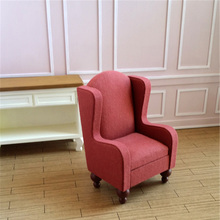 kawaii 1/6 Mini Dollhouse Furniture toy simulation Miniature red Cloth Sofa doll accessories For doll house living room toys