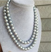 FREE shipping elegant 10-11mm south sea natural silver grey pearl necklace 32inch 6.07
